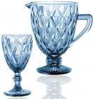 """Набор для напитков Elodia """"Грани"""" 6 фужеров 320мл и кувшин 1.1л, кобальтовое стекло"""