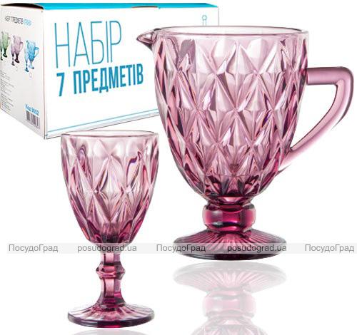 """Набор для напитков Elodia """"Грани"""" 6 фужеров 320мл и кувшин 1.1л, розовое стекло"""
