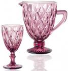 """Набір для напоїв Elodia """"Грані"""" 6 келихів 320мл і глечик 1.1л, рожеве скло"""