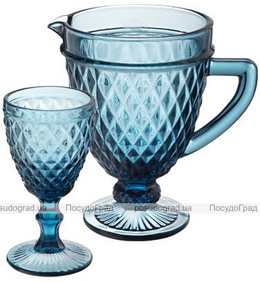 """Набор для напитков Elodia """"Аргайл"""" 6 фужеров 340мл и кувшин 1.15л, кобальтовое стекло"""