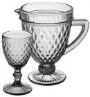 """Набор для напитков Elodia """"Аргайл"""" 6 фужеров 340мл и кувшин 1.15л, графитовое стекло"""