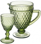 """Набор для напитков Elodia """"Аргайл"""" 6 фужеров 340мл и кувшин 1.15л, изумрудное стекло"""