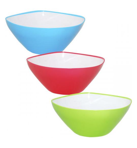 Салатница Rodos пластиковая двухцветная 2350мл квадратная