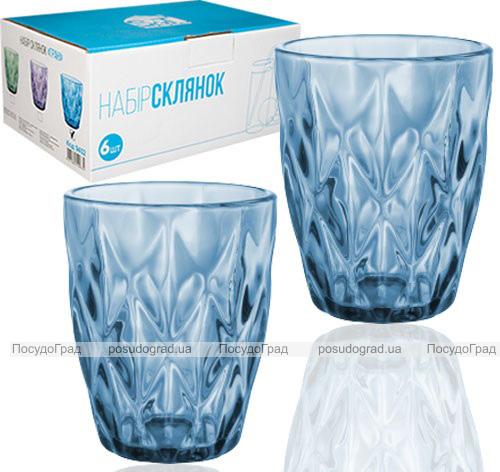 Набор 6 стаканов Elodia Грани 280мл, кобальтовое стекло