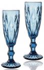 Набір 6 келихів для шампанського Elodia Грані 200мл, кобальтове скло