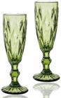 Набір 6 келихів для шампанського Elodia Грані 200мл, смарагдове скло