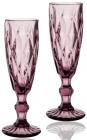 Набор 6 бокалов для шампанского Elodia Грани 200мл, розовое стекло