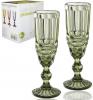 Набор 6 бокалов для шампанского Elodia Винтаж 180мл, изумрудное стекло