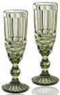 Набір 6 келихів для шампанського Elodia Вінтаж 180мл, смарагдове скло