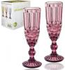 Набір 6 келихів для шампанського Elodia Вінтаж 180мл, рожеве скло