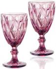 Набор 6 бокалов для вина Elodia Грани 320мл, розовое стекло