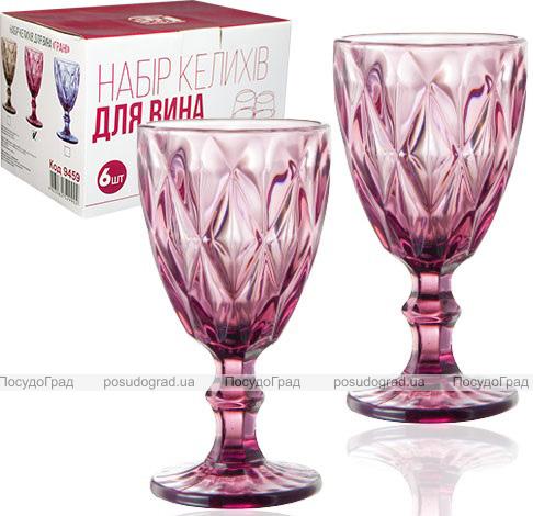 Набір 6 келихів для вина Elodia Грані 320мл, рожеве скло