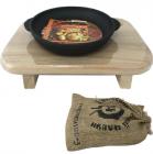 """Сковорода """"Черный Чугун"""" порционная Ø18см с двумя литыми ручками на деревянной подставке"""
