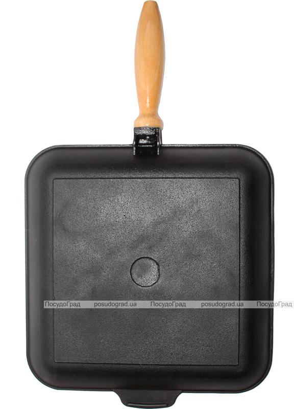 """Сковорода-гриль чугунная """"Черный Чугун"""" 28х28см с деревянной ручкой"""