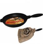 """Сковорода-гриль чавунна """"Чорний Чавун"""" Ø24см з дерев'яною ручкою"""