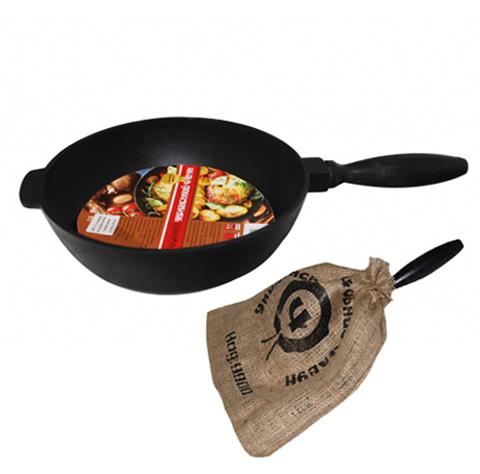 """Сковорода-сотейник """"Черный Чугун"""" Ø26см с деревянной ручкой"""