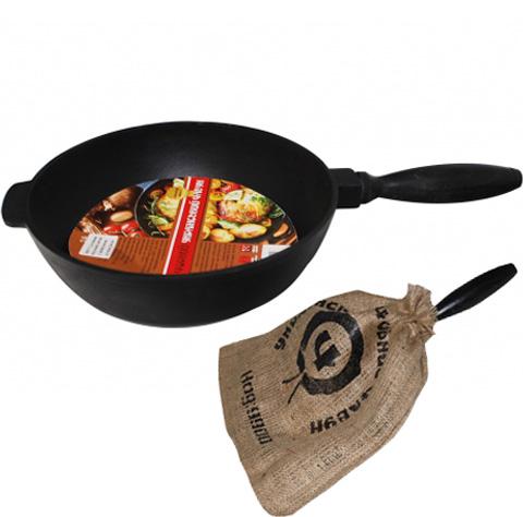"""Сковорода-сотейник """"Черный Чугун"""" Ø28см с деревянной ручкой"""