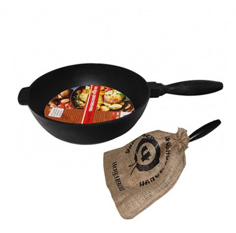 """Сковорода-сотейник """"Черный Чугун"""" Ø24см с деревянной ручкой"""