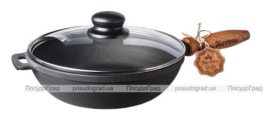 """Сковорода-сотейник чавунна """"Наша Майстерня"""" Ø24см зі скляною кришкою"""