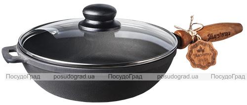 """Сковорода-сотейник чавунна """"Наша Майстерня"""" Ø28см зі скляною кришкою"""