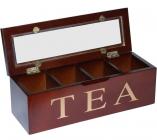 Коробка-шкатулка для чая TEA 4-х секционная 26.5x9x9см
