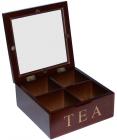 Коробка-шкатулка для чаю TEA 4-х секційна 18x18x8см