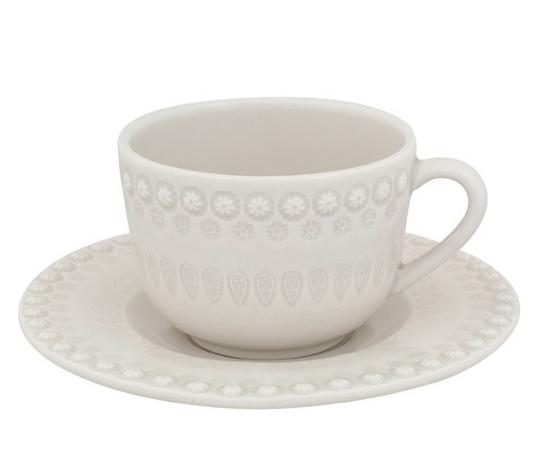 Чайный набор Bordallo Pinheiro Fantasia 4 чашки 200мл и 4 блюдца Серый