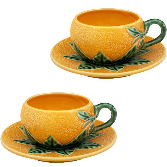 Кофейный набор Bordallo Pinheiro Orange 4 чашки и 4 блюдца