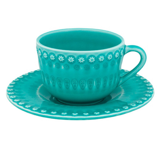 Чайный набор Bordallo Pinheiro Fantasia 4 чашки 200мл и 4 блюдца Бирюза
