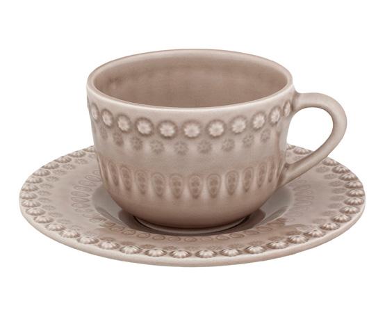 Чайный набор Bordallo Pinheiro Fantasia 4 чашки 200мл и 4 блюдца Бежевый