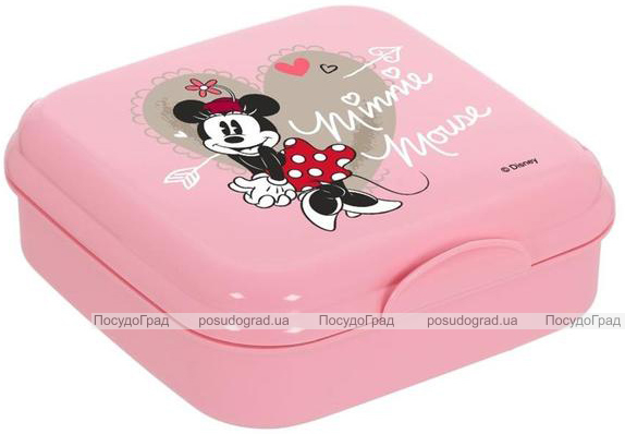 Ланч-бокс Herevin Disney Minnie Mouse 15х15х5см пластик, розовый
