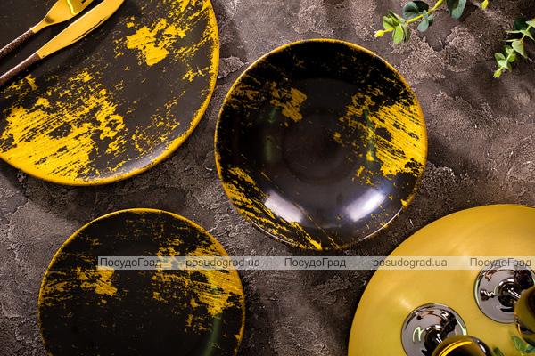 """Набор 6 десертных тарелок IPEC Monaco """"Золото"""" Ø20см каменная керамика"""