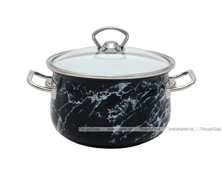 """Кастрюля эмалированная Infinity """"Black Marble"""" 2.1л, индукционная"""