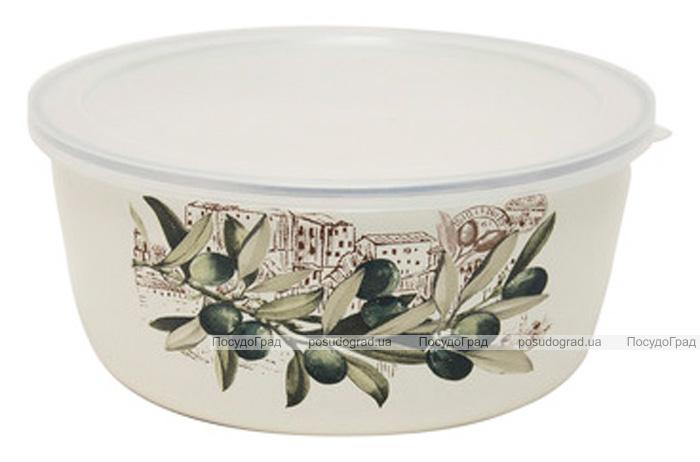 Контейнер для продуктов Infinity Olive эмалированный 1100мл с пластиковой крышкой