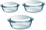 Набор кастрюль Pyrex Essentials 1.4л, 2.1л, 3л, жаропрочное стекло