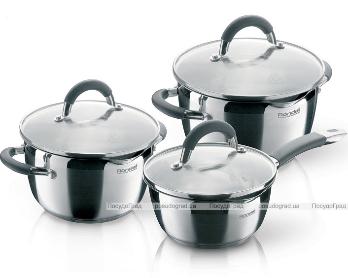 Набор кухонной посуды Rondell Flamme 2 кастрюли 3.2л и 5.7л и ковш 1.3л