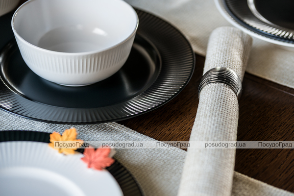 Набор 6 салатников IPEC Atena Ø14см каменная керамика, бежевые