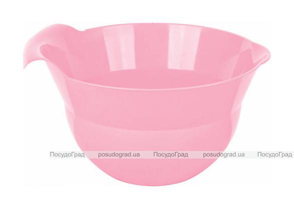 Миска с ручкой Bager пластиковая 1800мл, розовая