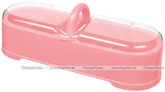 Емкость с 4 секциями Bager пластиковая с крышкой 29х11х11см, розовая