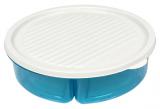 Менажниця з кришкою Bager пластикова на 3 секції Ø20см, блакитна