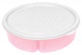 Менажниця з кришкою Bager пластикова на 3 секції Ø20см, рожева