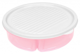 Менажница с крышкой Bager пластиковая на 3 секции Ø20см, розовая