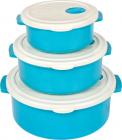 Набор 3 контейнеров с крышкой Bager пластиковый с встроенным клапаном 750мл, 1500мл и 2700мл, голубой