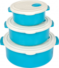 Набір 3 контейнерів з кришкою Bager пластиковий з вбудованим клапаном 750мл, 1500мл і 2700мл, блакитний