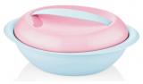 Салатник овальный Bager пластиковый 1500мл, голубой с розовой крышкой