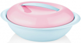 Салатник овальний Bager пластиковий 2750мл, блакитний з рожевою кришкою