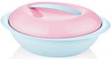 Салатник овальный Bager пластиковый 2750мл, голубой с розовой крышкой