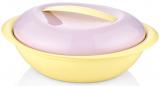 Салатник овальний Bager пластиковий 2750мл, жовтий з бузковою кришкою
