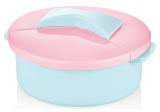 Салатник Bager пластиковий 1500мл, блакитний з рожевою кришкою