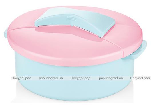 Салатник Bager пластиковый 1500мл, голубой с розовой крышкой